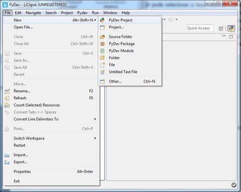 """Tela que ilustra como é o menu principal """"File"""" com as opções para se trabalhar"""