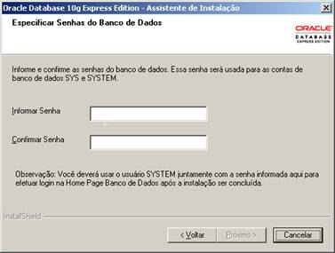 Definição de senha para o usuário SYSTEM do Oracle