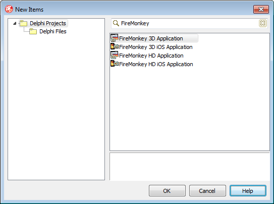 Novas opções de projeto, exclusivos para FireMonkey