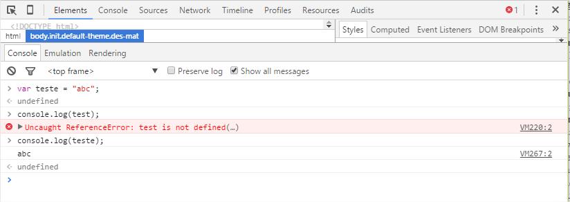 Exemplo de debug com Console Interativo no Chrome