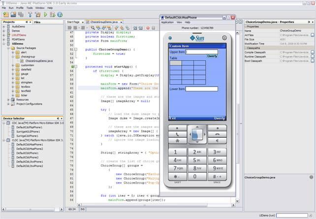 Ambiente integrado de desenvolvimento do Java ME Platform SDK 3 baseado no NetBeans