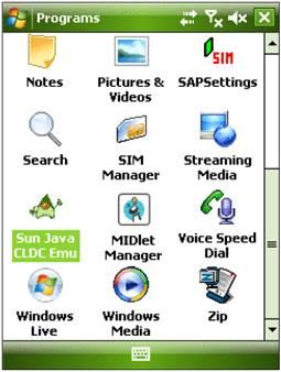Ícone que mostra a máquina virtual Java ME no Windows Mobile 6
