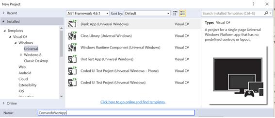 Iniciando um novo projeto Universal Windows