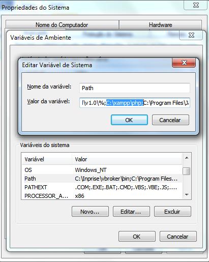 Configuração das variáveis de ambiente