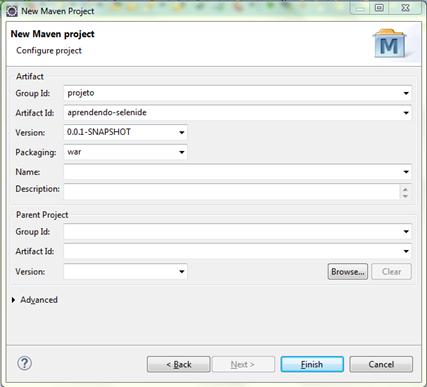 Mostra a janela do eclipse com as configurações do projeto Maven