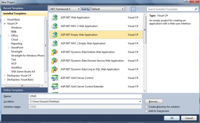 Criando um novo projeto Web no Visual Studio 2010