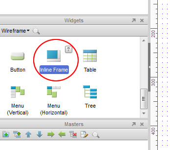 Inline Frame. Widget requerido para utilizar as Actions Open Link(s) Frame e Open Link in Parent Frame