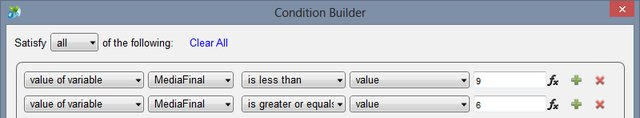 Condition Builder para o Case Aprovado com Ressalvas