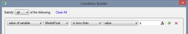Condition Builder para o Case Reprovado