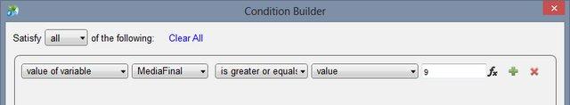 Condition Builder para o Case Aprovado com Louvor