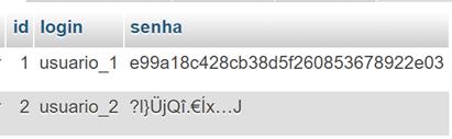 Dado criptografado com AES_ENCRYPT
