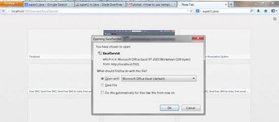 Visite ExcelServlet que o prompt do usuário irá baixar ou abrir a folha de excel.