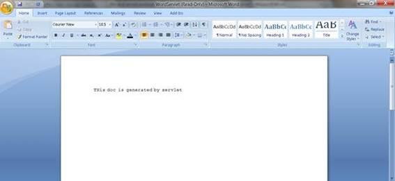 Mostra o conteúdo do arquivo baixado documento do MS-Word usando o WordServlet