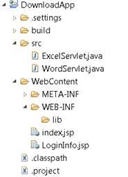 Estrutura de diretórios necessária para executar a aplicação web Java