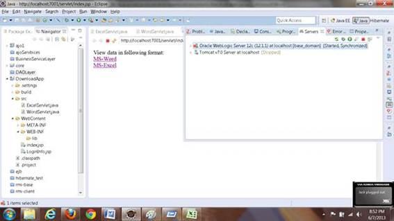 Servidor configurado na IDE Eclipse para Application Server e Web Server