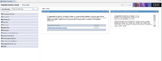Página de administração do IBM WebSphere
