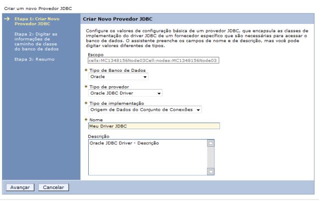 Tela de configuração do novo provedor JDBC
