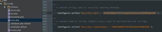 Mudança de configurações no core.php