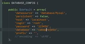Configuração da base de dados.
