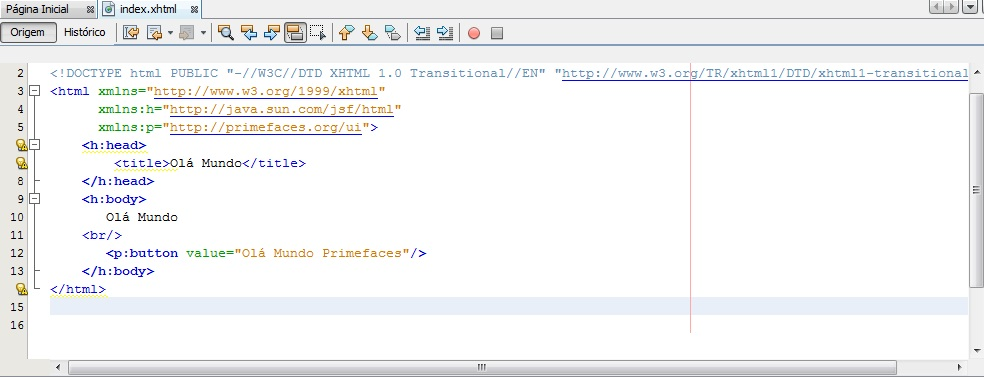 Editando o arquivo index.xhtml