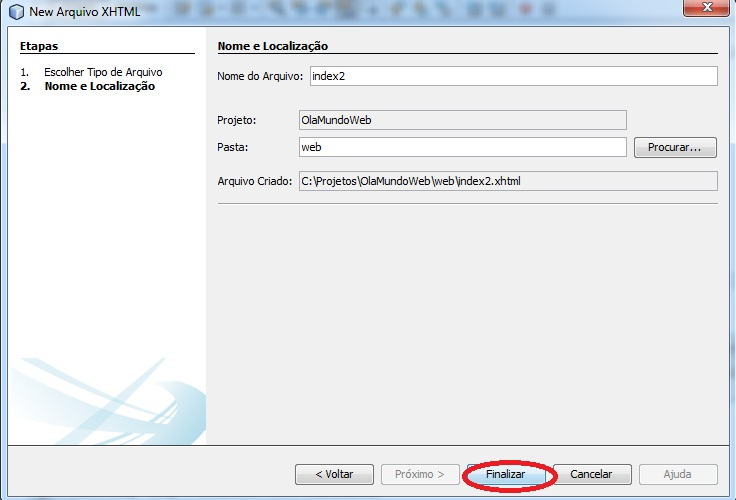 Novo arquivo XHTML
