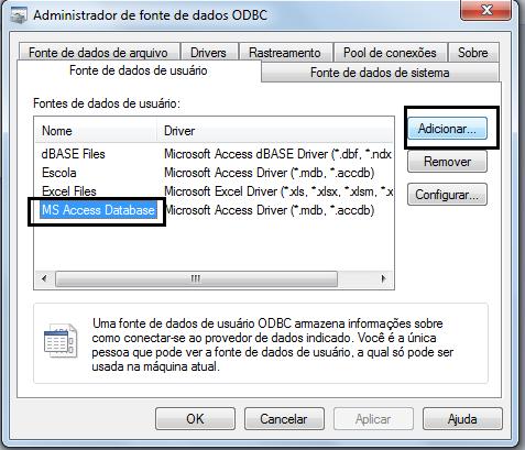Administrador de Fonte de dados(ODBC)