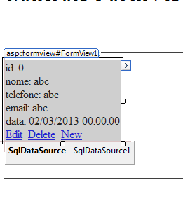 FormView com a tabela Clientes vinculada