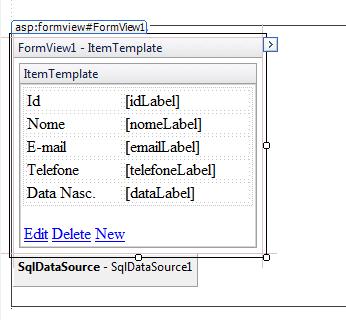 FormView Editado com os campos posicionados na Tabela