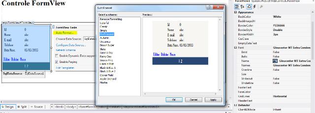Opção Auto Format do FormView com os Templates disponíveis