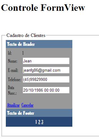 FormView em execução no modo Edição de Clientes