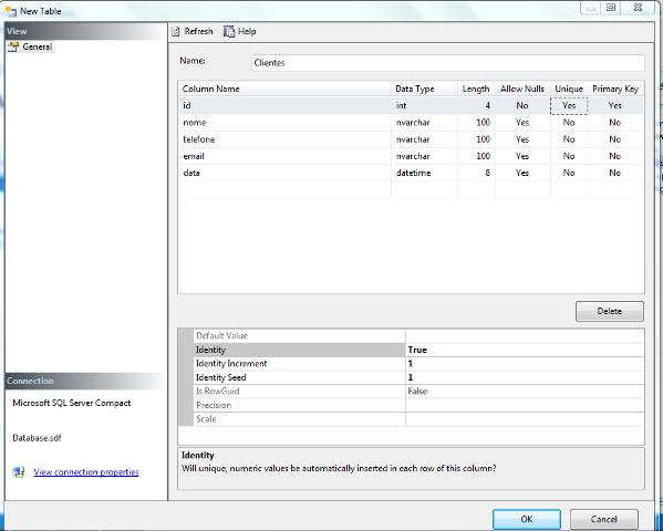 Configuração da tabela clientes