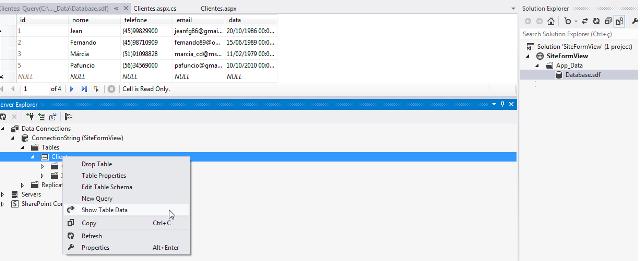 Inserção dos registros na tabela Clientes