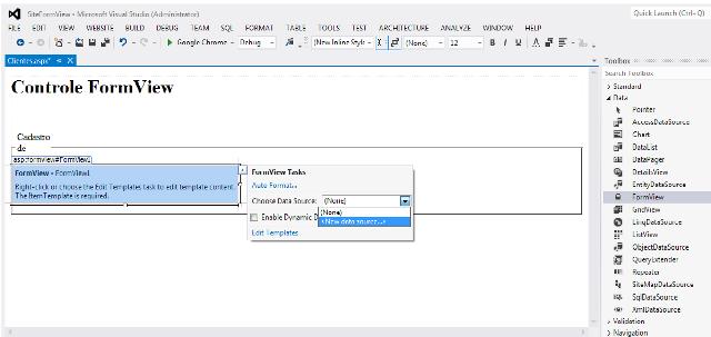 Escolha de uma nova fonte de dados  para o FormView