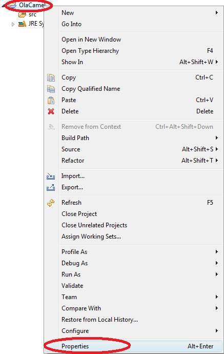 Configurando as bibliotecas do Apache Camel.