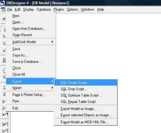 Exportando o arquivo SQL para criação do banco de dados