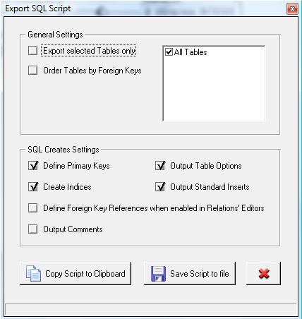 Tela Export SQL Script exibida na tela