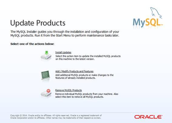 Tela de configuração dos produtos MySQL