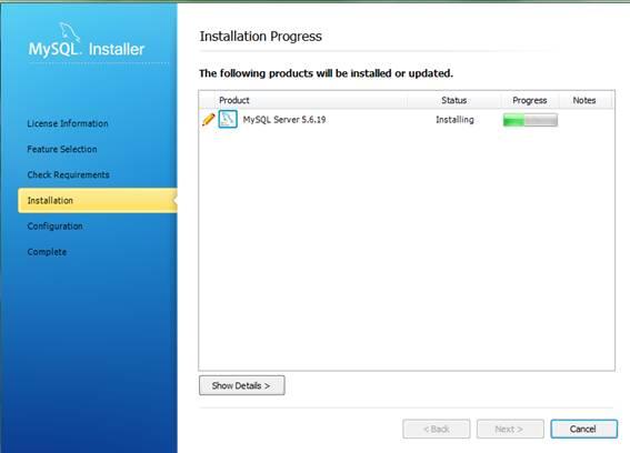 Processando a instalação do MySQL Server