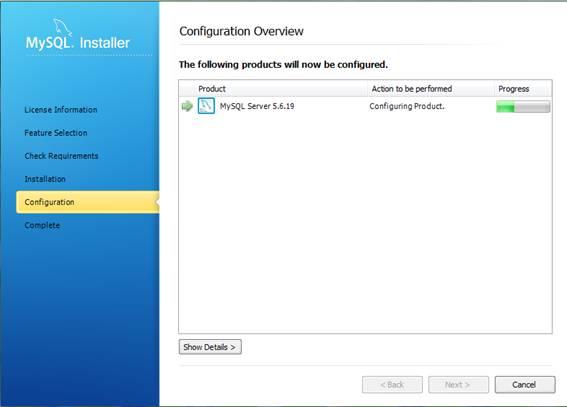 Processando as configurações anteriores