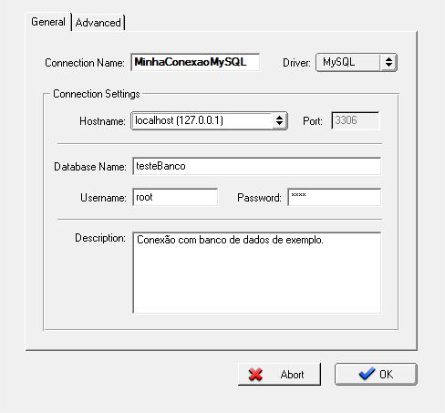 Configurando os detalhes da conexão com MySQL