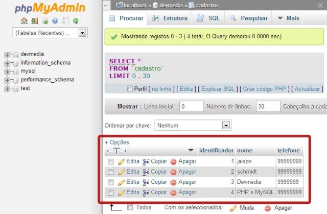 php e mysql conectando e exibindo dados de forma r pida