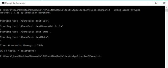 Verificação de resultados do PHPUnit