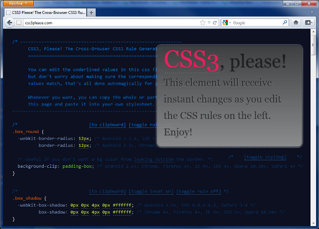 Ferramenta CSS3 Please