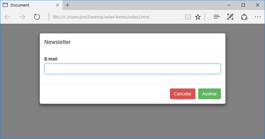Exemplo de modal no Bootstrap