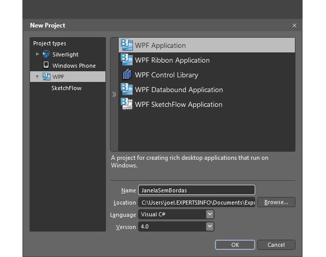Criando a aplicação no Blend