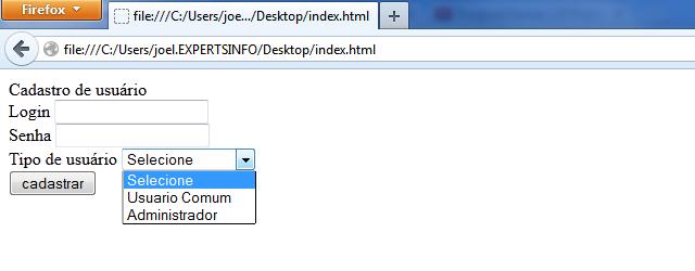 Formulário de cadastro de usuário PHP e MySQL