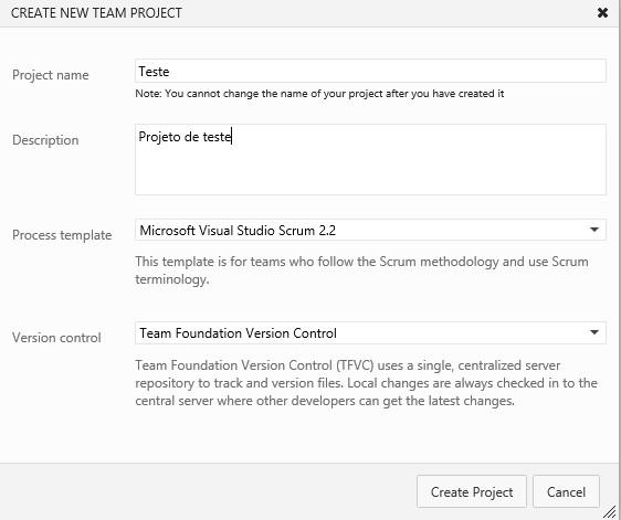 Definindo as informações do novo projeto