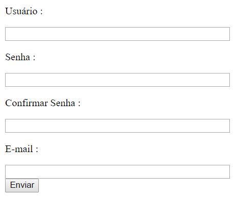 Formulário de registro de novo usuário
