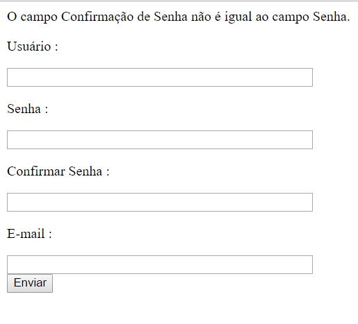 Mensagens da validação do campo <em>Confirmar Senha