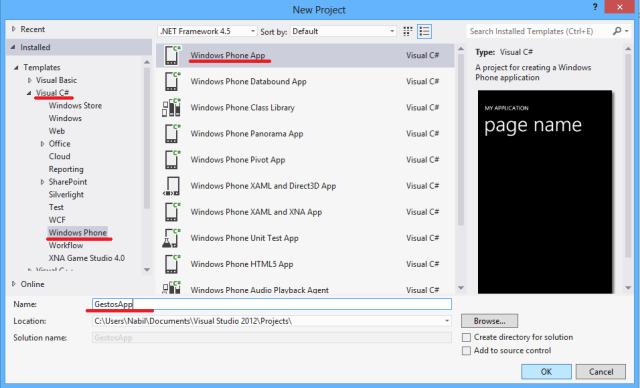 Criação do projeto GestosApp no Visual Studio